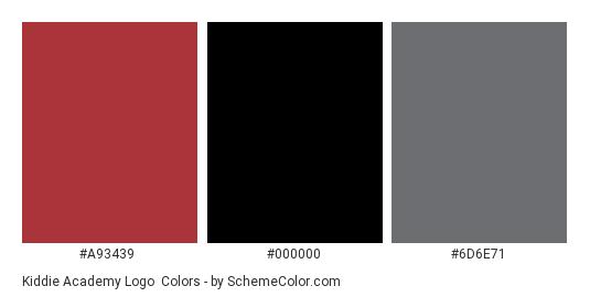 Kiddie Academy Logo - Color scheme palette thumbnail - #a93439 #000000 #6d6e71
