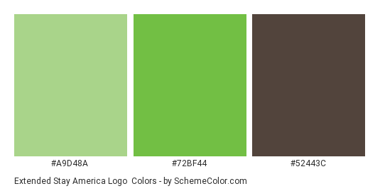 Extended Stay America Logo - Color scheme palette thumbnail - #a9d48a #72bf44 #52443c