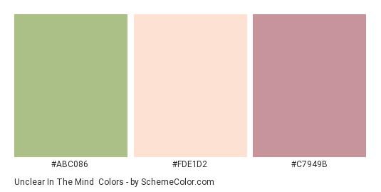 Unclear in the Mind - Color scheme palette thumbnail - #abc086 #fde1d2 #c7949b