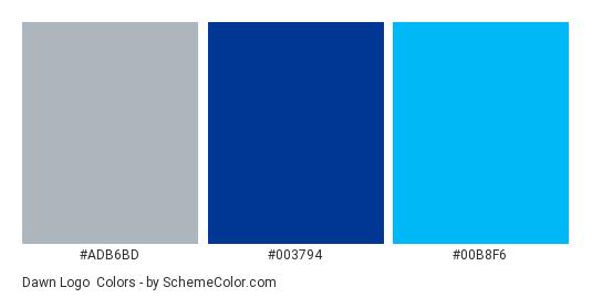 Dawn Logo - Color scheme palette thumbnail - #adb6bd #003794 #00b8f6