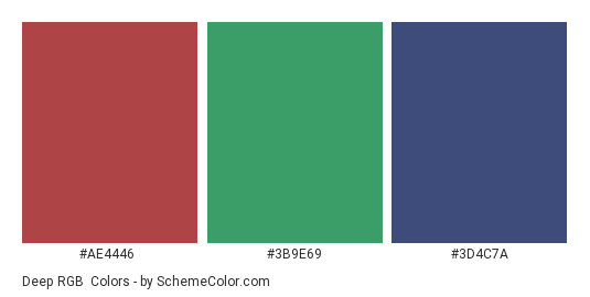 Deep RGB - Color scheme palette thumbnail - #ae4446 #3b9e69 #3d4c7a