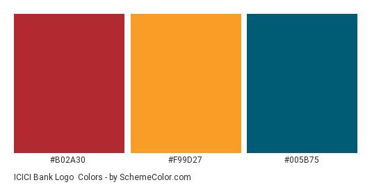 ICICI Bank Logo - Color scheme palette thumbnail - #b02a30 #f99d27 #005b75