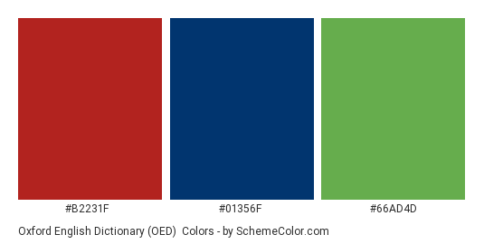 Oxford English Dictionary (OED) - Color scheme palette thumbnail - #b2231f #01356f #66ad4d