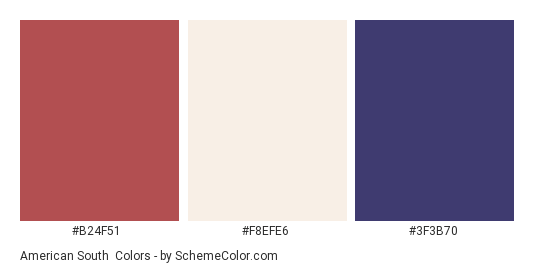 American South - Color scheme palette thumbnail - #b24f51 #f8efe6 #3f3b70