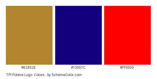 TPI Polene Logo - Color scheme palette thumbnail - #b2852e #13007c #ff0000