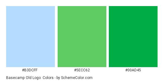 Basecamp Old Logo - Color scheme palette thumbnail - #b3dcff #5ecc62 #00ad45