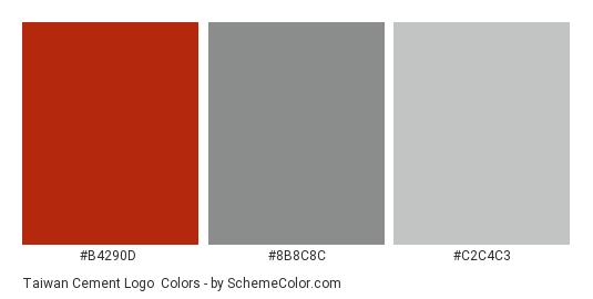 Taiwan Cement Logo - Color scheme palette thumbnail - #b4290d #8b8c8c #c2c4c3
