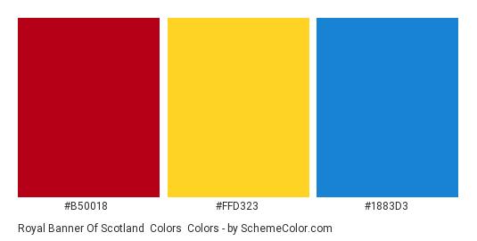 Royal Banner of Scotland  Colors - Color scheme palette thumbnail - #b50018 #ffd323 #1883d3