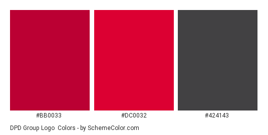 DPD group Logo - Color scheme palette thumbnail - #bb0033 #dc0032 #424143