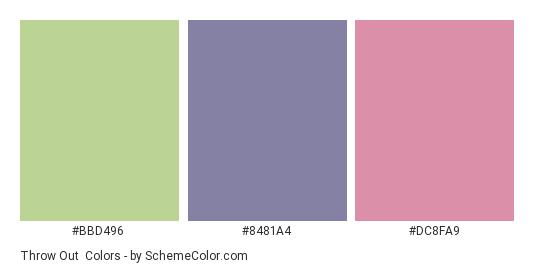 Throw Out - Color scheme palette thumbnail - #bbd496 #8481A4 #dc8fa9