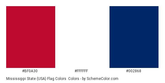 Mississippi State (USA) Flag Colors - Color scheme palette thumbnail - #bf0a30 #ffffff #002868