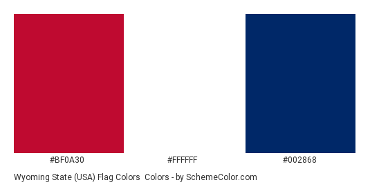 Wyoming State (USA) Flag Colors - Color scheme palette thumbnail - #bf0a30 #ffffff #002868