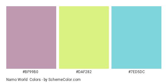 Namo World - Color scheme palette thumbnail - #bf99b0 #daf282 #7ed5dc