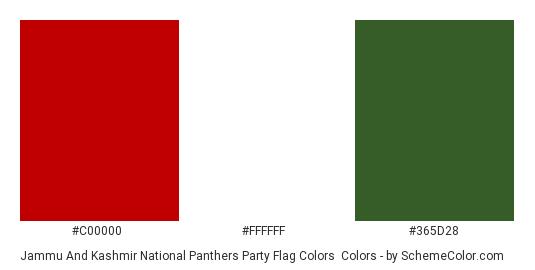 Jammu and Kashmir National Panthers Party Flag Colors - Color scheme palette thumbnail - #c00000 #ffffff #365d28