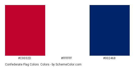 Confederate Flag Colors - Color scheme palette thumbnail - #c0032d #ffffff #002468