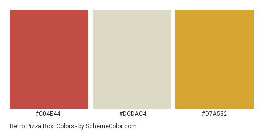 Retro Pizza Box - Color scheme palette thumbnail - #c04e44 #dcdac4 #d7a532