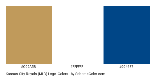 Kansas City Royals (MLB) Logo - Color scheme palette thumbnail - #c09a5b #ffffff #004687