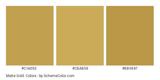 Matte Gold - Color scheme palette thumbnail - #c1a050 #cbab58 #bb9847