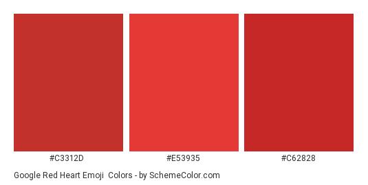 Google Red Heart Emoji - Color scheme palette thumbnail - #c3312d #e53935 #c62828