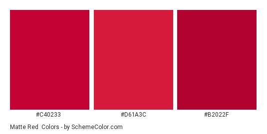 Matte Red - Color scheme palette thumbnail - #c40233 #d61a3c #b2022f
