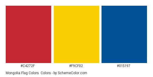 Mongolia Flag Colors - Color scheme palette thumbnail - #c4272f #f9cf02 #015197
