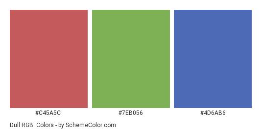 Dull RGB - Color scheme palette thumbnail - #c45a5c #7eb056 #4d6ab6