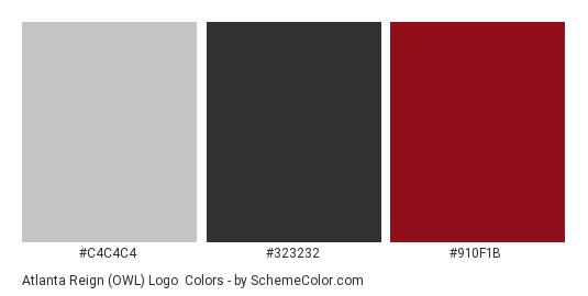 Atlanta Reign (OWL) Logo - Color scheme palette thumbnail - #c4c4c4 #323232 #910F1B
