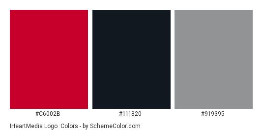 iHeartMedia Logo - Color scheme palette thumbnail - #c6002b #111820 #919395