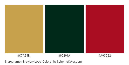 Staropramen Brewery Logo - Color scheme palette thumbnail - #c7a24b #00291a #a90d22