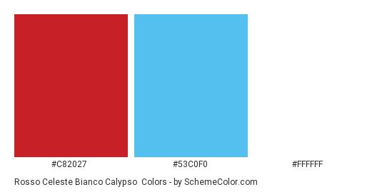 Rosso Celeste Bianco Calypso - Color scheme palette thumbnail - #c82027 #53c0f0 #FFFFFF