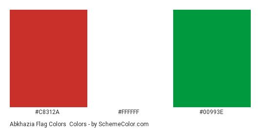 Abkhazia Flag Colors - Color scheme palette thumbnail - #c8312a #ffffff #00993e