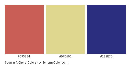 Spun in a Circle - Color scheme palette thumbnail - #c95e54 #dfd690 #2b2e7d