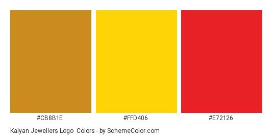 Kalyan Jewellers Logo - Color scheme palette thumbnail - #cb8b1e #ffd406 #e72126