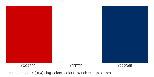 Tennessee State (USA) Flag Colors - Color scheme palette thumbnail - #cc0000 #ffffff #002d65