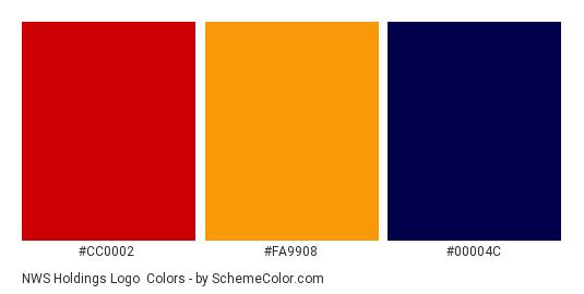 NWS Holdings Logo - Color scheme palette thumbnail - #cc0002 #fa9908 #00004c