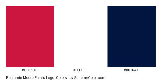 Benjamin Moore Paints Logo - Color scheme palette thumbnail - #cd163f #ffffff #001641