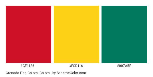 Grenada Flag Colors - Color scheme palette thumbnail - #ce1126 #fcd116 #007a5e