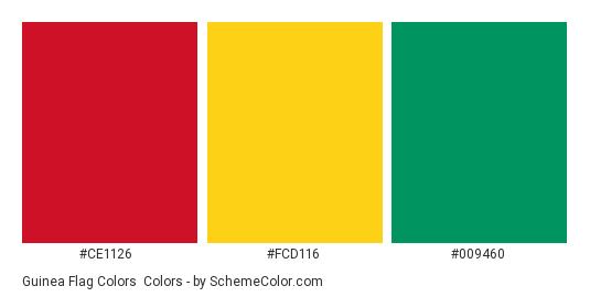 Guinea Flag Colors - Color scheme palette thumbnail - #ce1126 #fcd116 #009460