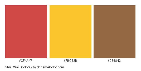 Shrill Wail - Color scheme palette thumbnail - #cf4a47 #fbc62b #936842