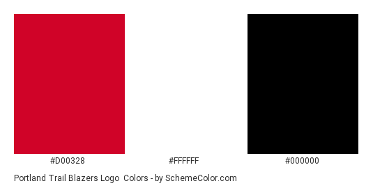 Portland Trail Blazers Logo - Color scheme palette thumbnail - #d00328 #ffffff #000000