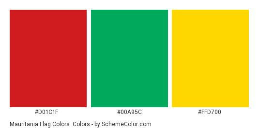Mauritania Flag Colors - Color scheme palette thumbnail - #d01c1f #00a95c #ffd700