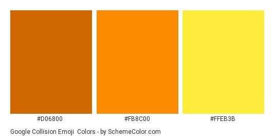 Google Collision Emoji - Color scheme palette thumbnail - #d06800 #fb8c00 #ffeb3b
