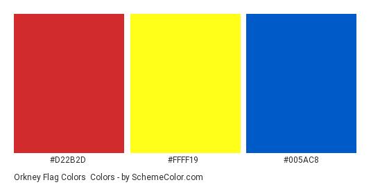 Orkney Flag Colors - Color scheme palette thumbnail - #d22b2d #ffff19 #005ac8