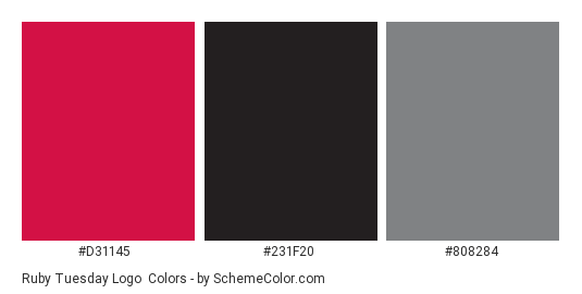 Ruby Tuesday Logo - Color scheme palette thumbnail - #d31145 #231f20 #808284