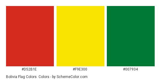 Bolivia Flag Colors - Color scheme palette thumbnail - #d52b1e #f9e300 #007934