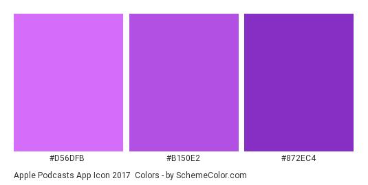Apple Podcasts App Icon 2017 - Color scheme palette thumbnail - #d56dfb #b150e2 #872ec4