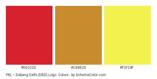 PKL – Dabang Delhi (DBD) Logo - Color scheme palette thumbnail - #d6222d #c88b2d #f2f24f