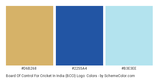 Board of Control for Cricket in India (BCCI) Logo - Color scheme palette thumbnail - #d6b268 #2255a4 #b3e3ee