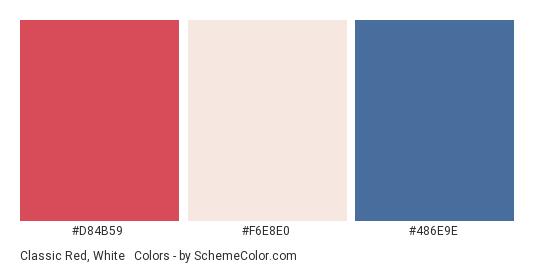 Classic Red, White & Blue - Color scheme palette thumbnail - #d84b59 #f6e8e0 #486e9e