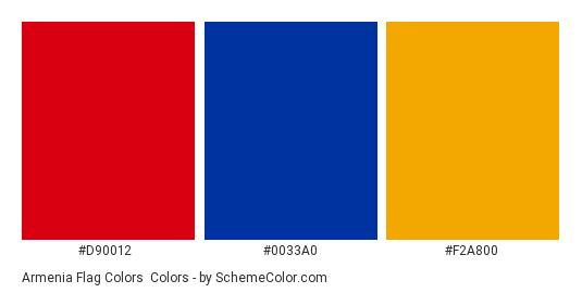 Armenia Flag Colors - Color scheme palette thumbnail - #d90012 #0033a0 #f2a800